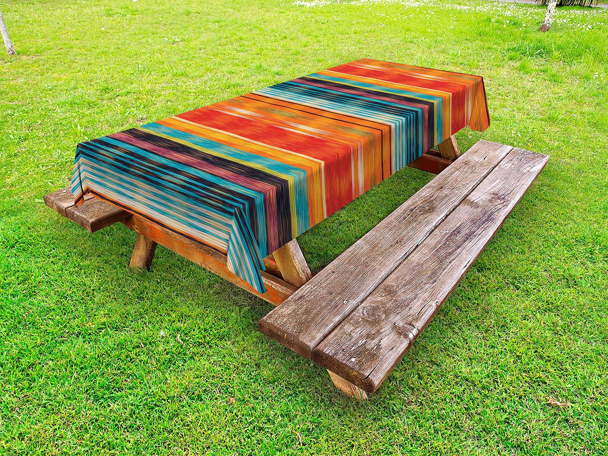 Lunarable Mexican Outdoor Tablecloth, Abstract Vibrant Vintage Aztec Motif Gradient Blurred Lines Ecuador Crafts Image, Decorative Washable Picnic Table Cloth, 58 X 104 inches, Multicolor
