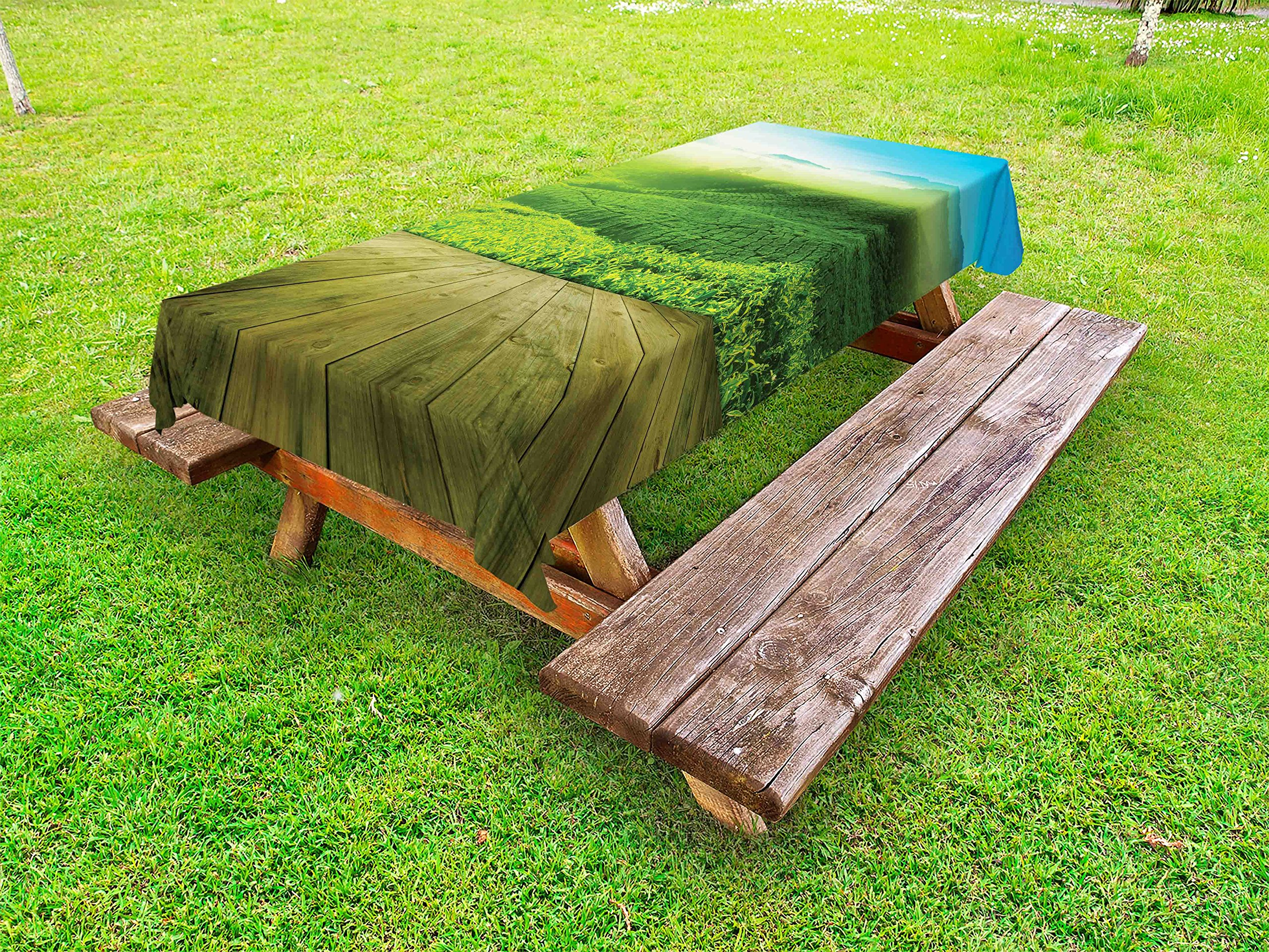 Lunarable Green Outdoor Tablecloth, Wood Platform Landscape View of Tea Plantation with Blue Sky in Morning, Decorative Washable Picnic Table Cloth, 58 X 120 inches, Sky Blue Green Brown