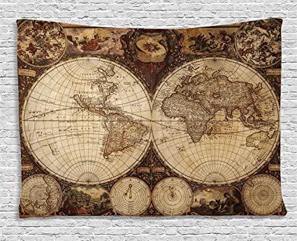 world map tapestry vintage wanderlust decor by ambesonne image of old map in 1720s nostalgic