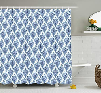 Ambesonne Indigo Shower Curtain Ethnic Paisley Motif With Floral Leaves Print On Raindrops Fabric