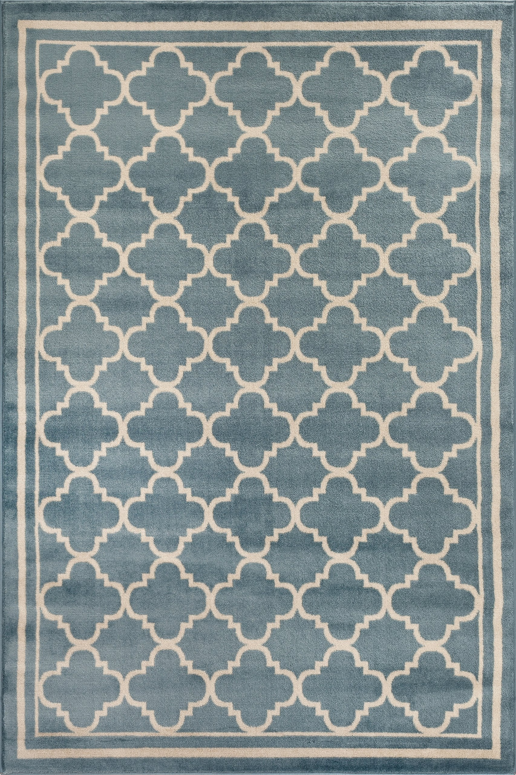 """Rug Decor Trellis Contemporary Modern Design Area Rug, 5' 3"""" by 7' 3"""", Blue - Brand New Area Rug No Fringe For Clean Design Stain Resistant - living-room-soft-furnishings, living-room, area-rugs - B1g917B1JkS -"""