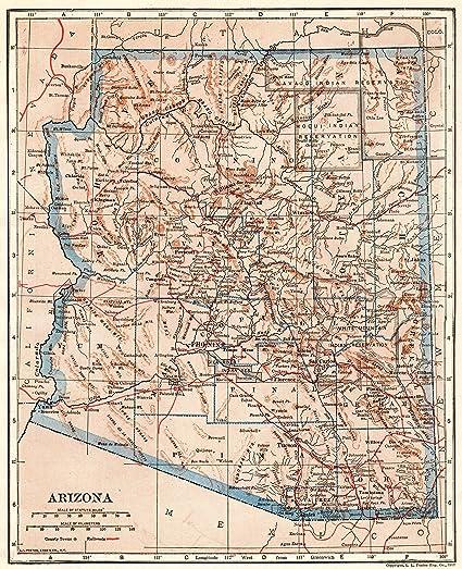 Amazon.com: 1920 Antique Arizona State Map Original Vintage Map of ...