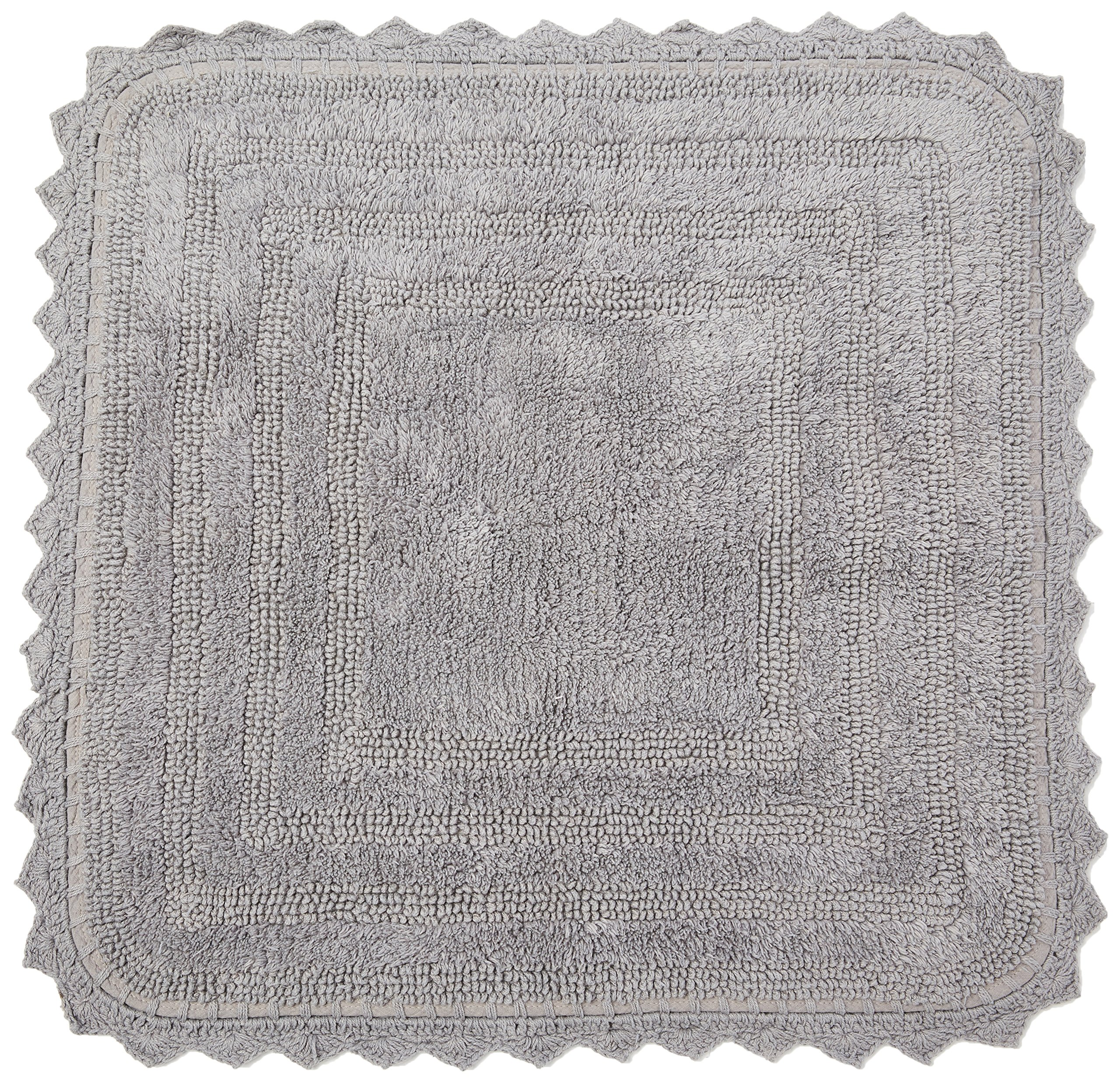 DII Ultra Soft Spa Cotton Crochet Square Bath Mat or Rug Place in Front of Shower, Vanity, Bath Tub, Sink, and Toilet, 24'' - Gray