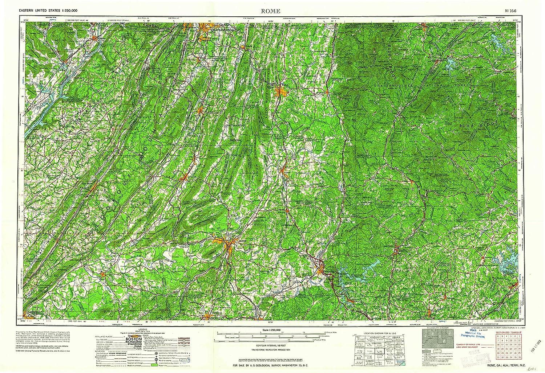 Topographic Map Of Rome.Amazon Com Yellowmaps Rome Ga Topo Map 1 250000 Scale 1 X 2