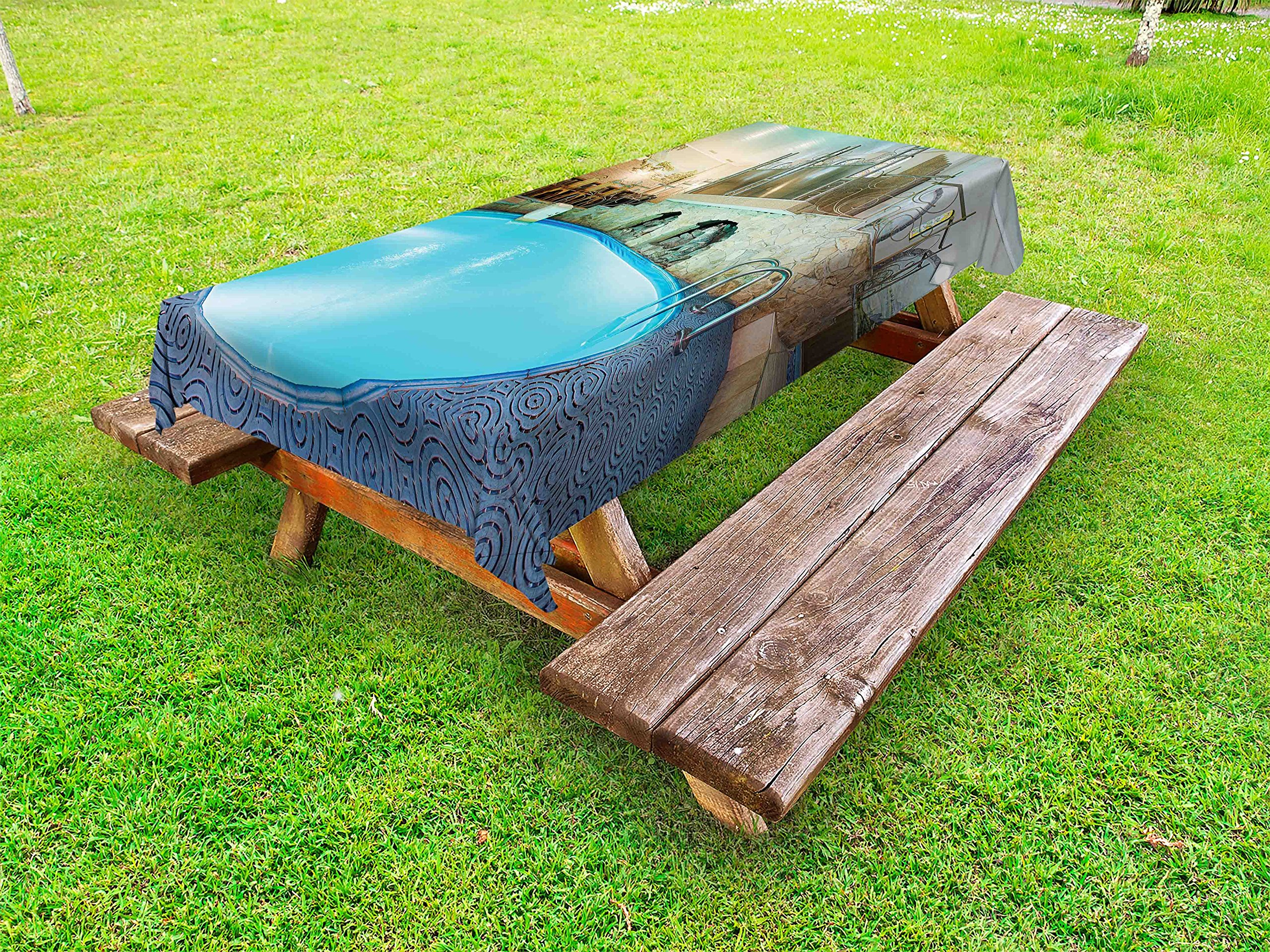 Ambesonne Modern Outdoor Tablecloth, Vivid Blue Swimming Pool in Spa Interior Resort Relaxation and Theraphy Theme, Decorative Washable Picnic Table Cloth, 58 X 120 inches, Blue Aqua Beige