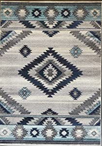 South West Native American Indian Area Rug Turquoise Purple Beige Blue Brown Design 1033 (5 Feet X 7 Feet)