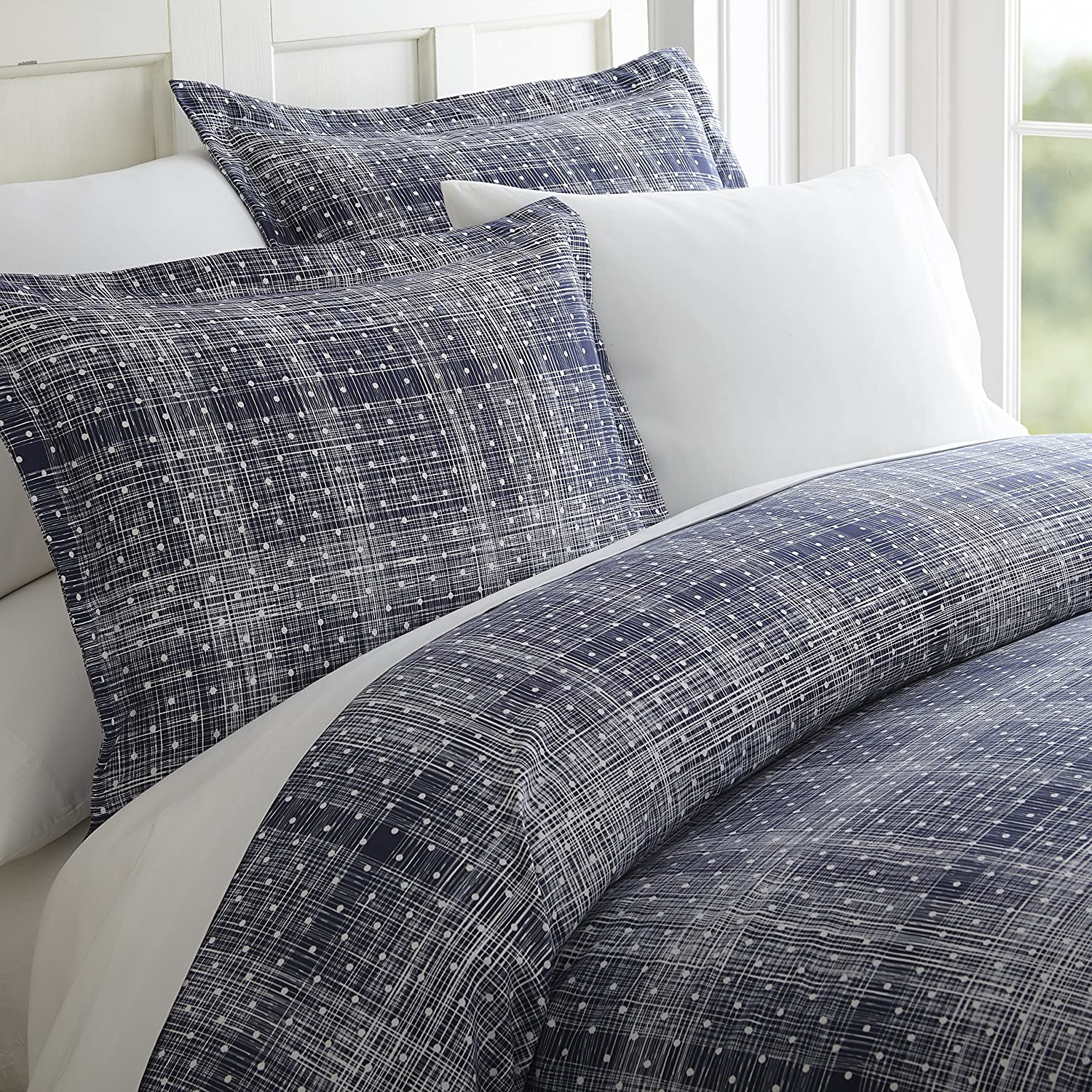 ienjoy Home Duvet Cover Set Polkadot Patterned QueenNavy