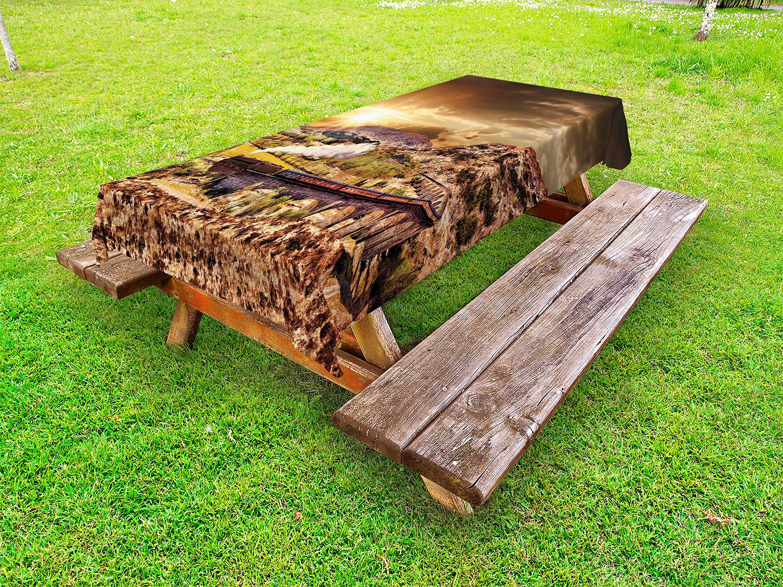 Ambesonne Wizard Outdoor Tablecloth, Wizard School Express Famous Train Landscape Glenfinnan Railway Viaduct Scotland Sunset, Decorative Washable Picnic Table Cloth, 58 X 120 inches, Brown