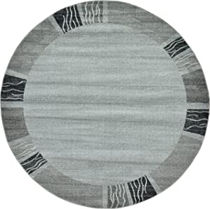 Unique Loom Del Mar Collection Contemporary Transitional Light Gray Round Rug (8' 0 x 8' 0)