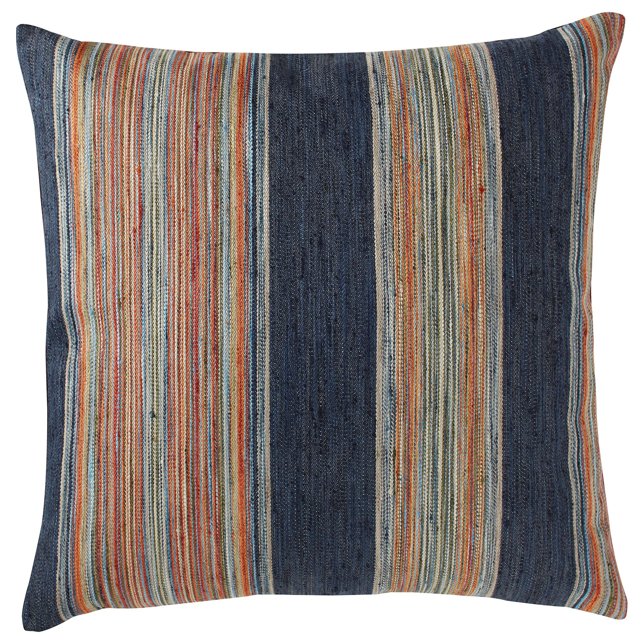Rivet Bohemian Stripe Pillow, 17'' x 17'', Ink