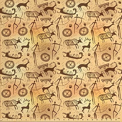Amazon Com Ambesonne Primitive Decor Fabric By The Yard Dated