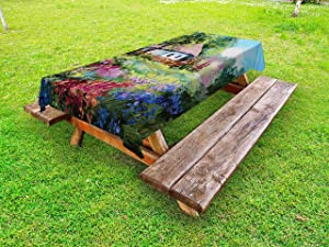 Lunarable Rustic Outdoor Tablecloth, Stone House and Small Garden with Wooden Fence Colorful Spring Flowers, Decorative Washable Picnic Table Cloth, 58