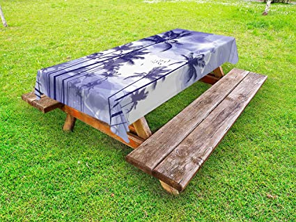 Tree Outdoor Picnic Tablecloth Palms Silhouette Purple Print 58 X 104 Inches