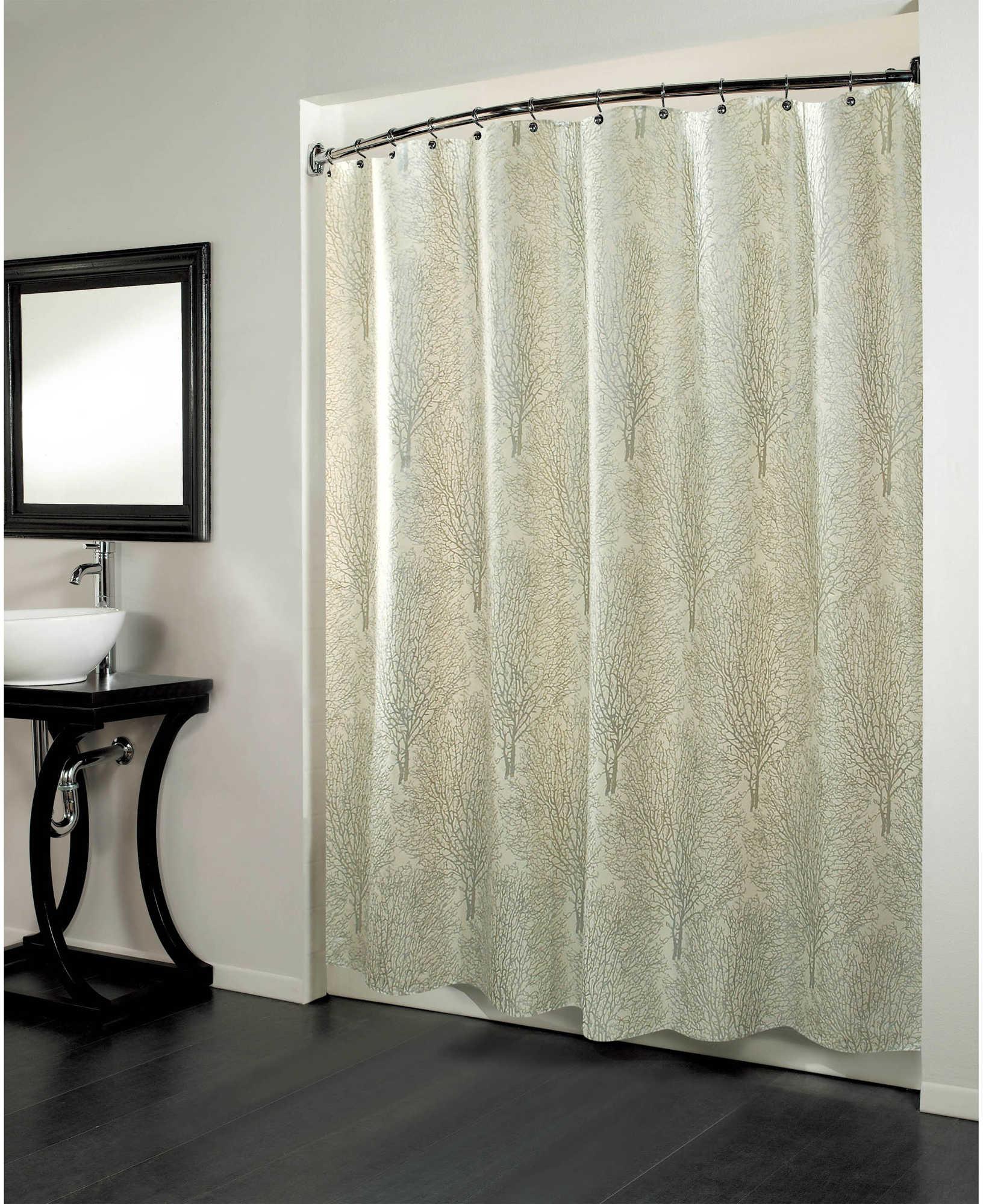 Forest Fabric Metallic Print Shower Curtain - BedBathandBeyond.com