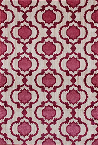 Modern Moraccan Trellis Pink Red Soft Area Rug 7 10 x 10 2 New