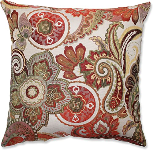 Pillow Perfect Crazy Rosewood Throw Pillow, 18-Inch, Red
