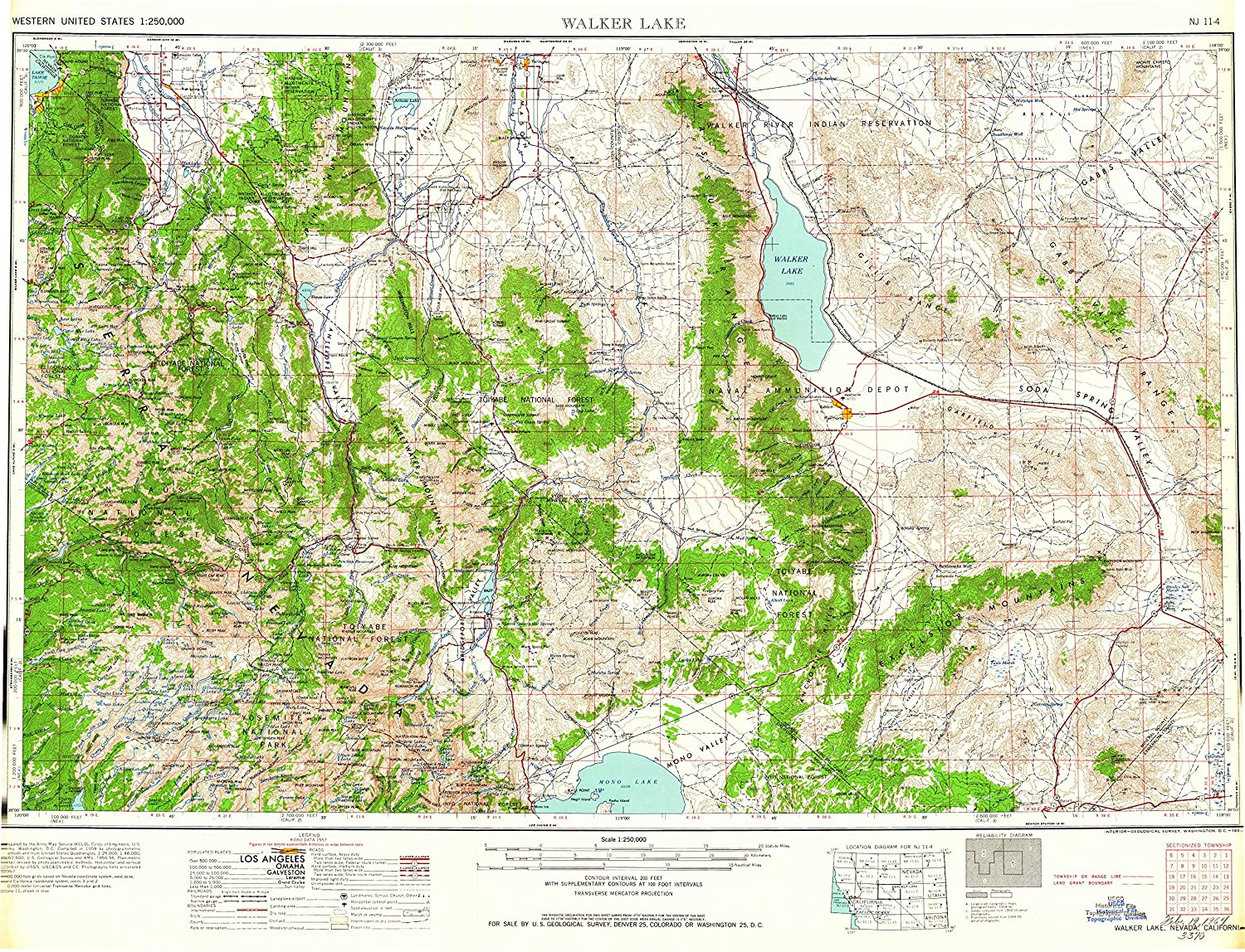Topographic Map Of Nevada.Amazon Com Yellowmaps Walker Lake Nv Topo Map 1 250000 Scale 1 X