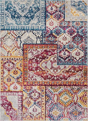 Well Woven Greenwich Floral Blue Red Boho Patchwork Area Rug 8×11 7 10 x 10 6 Soft Plush Oriental Panel Carpet