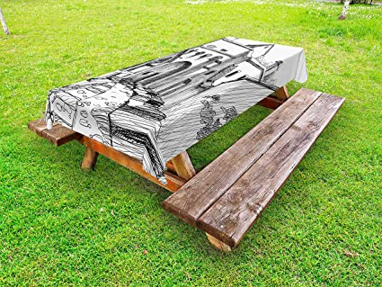 Fine Amazon Com Lunarable Medieval Outdoor Tablecloth Medieval Machost Co Dining Chair Design Ideas Machostcouk