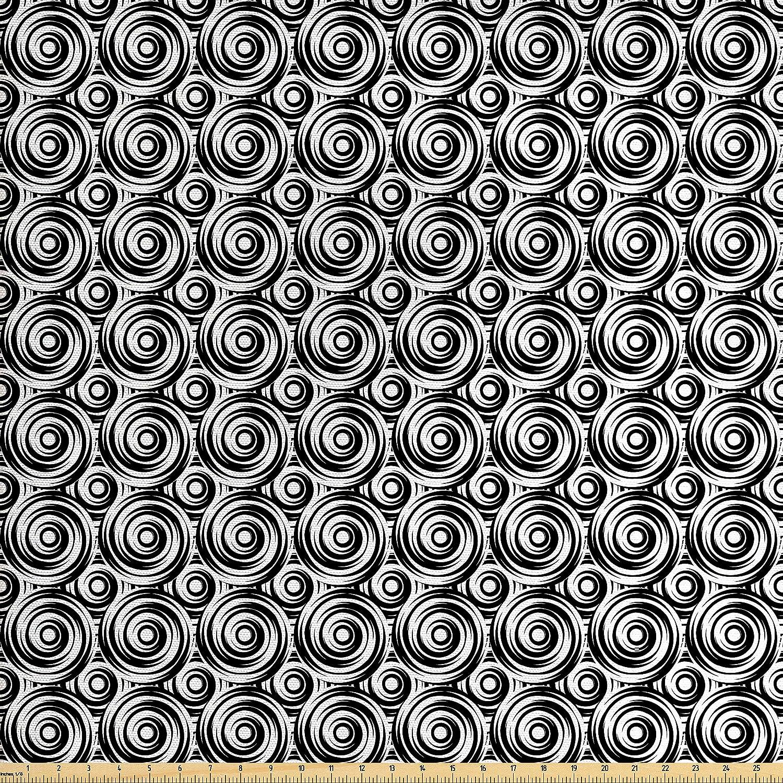 Ambesonne Moderno Tela por el Patio, Espiral simétrica círculos ...
