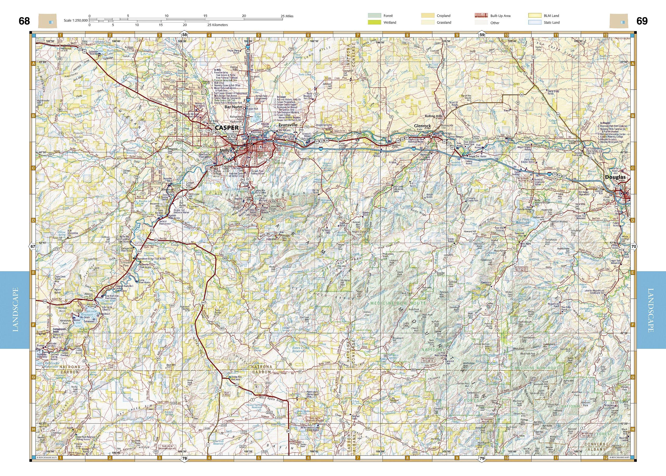 Wyoming Road  Recreation Atlas Benchmark Maps - Road map wyoming usa