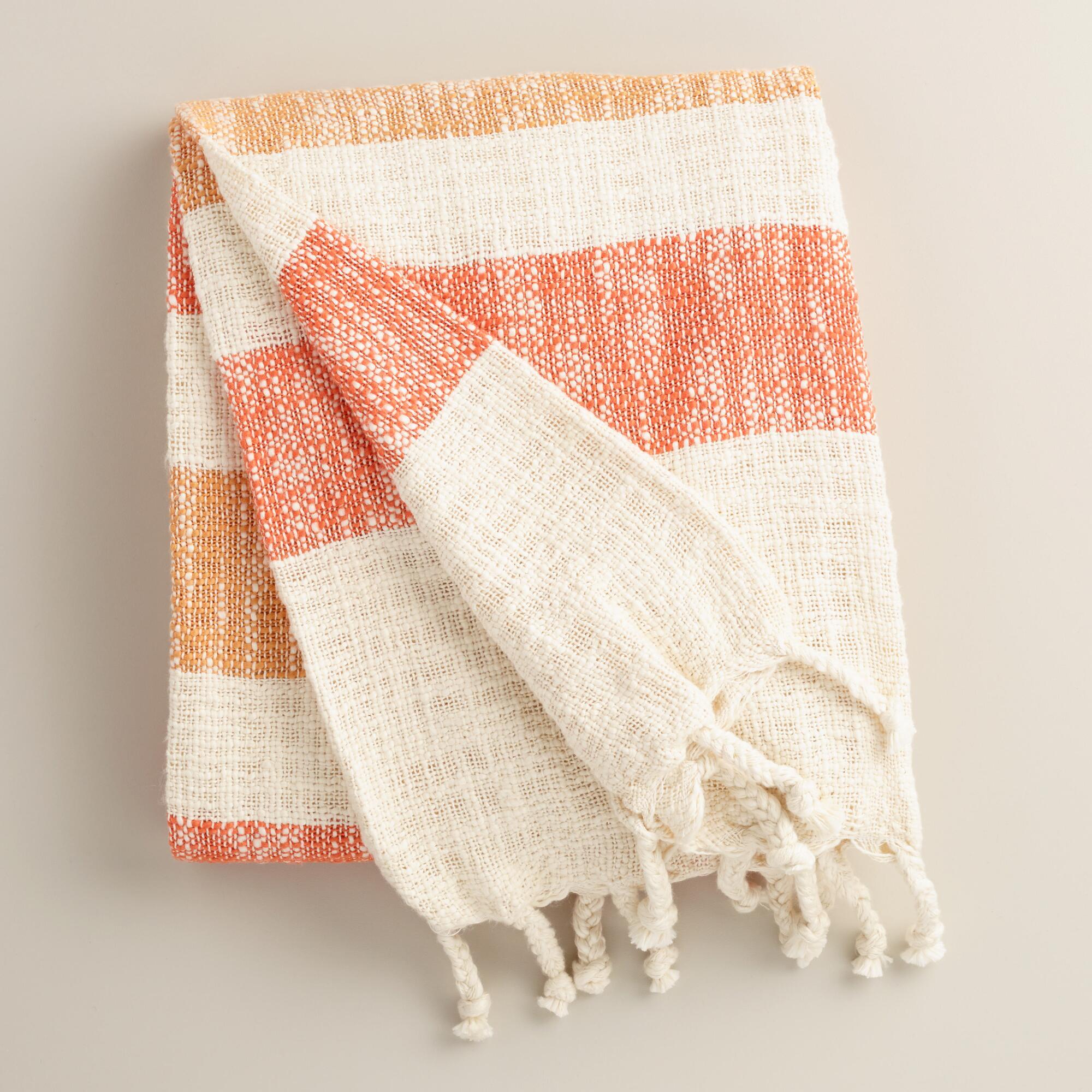Orange Stripe Cotton Outdoor Throw | World Market