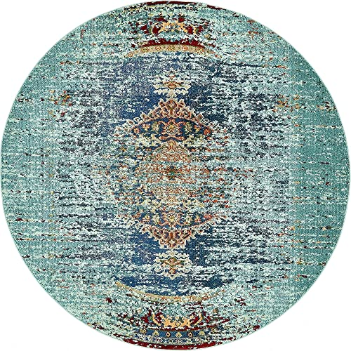 Unique Loom Vita Collection Traditional Over-Dyed Vintage Turquoise Round Rug 8 0 x 8 0