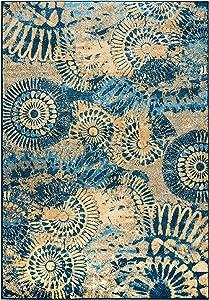 Rizzy Home Bellevue Collection Polypropylene Area Rug, Blue/Tan/Khaki Medallion