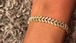 Sterling Silver Diamond Accent Leaf-Shaped Adjustable Bolo Bracelet with Yellow Gold Overlay
