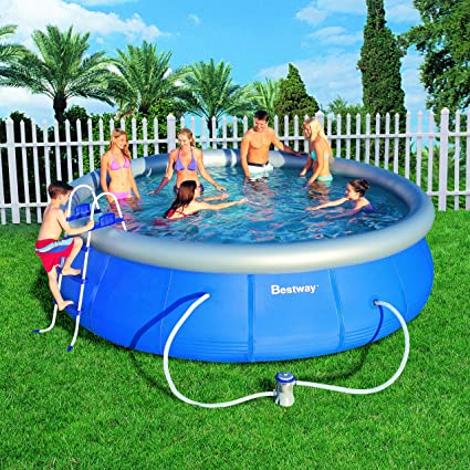 Above Ground Inflatable Pool In Bestway 57126us Fast Pool Set 15feet By 42inch Amazoncom