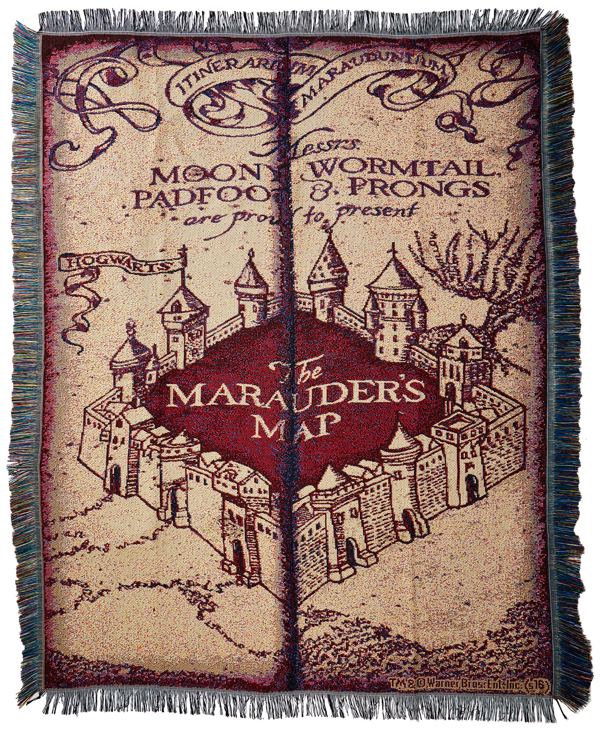 Warner Brothers JK Rowling Harry Potter,''Marauder's Map'' Woven Tapestry Throw Blanket, 48'' x 60''