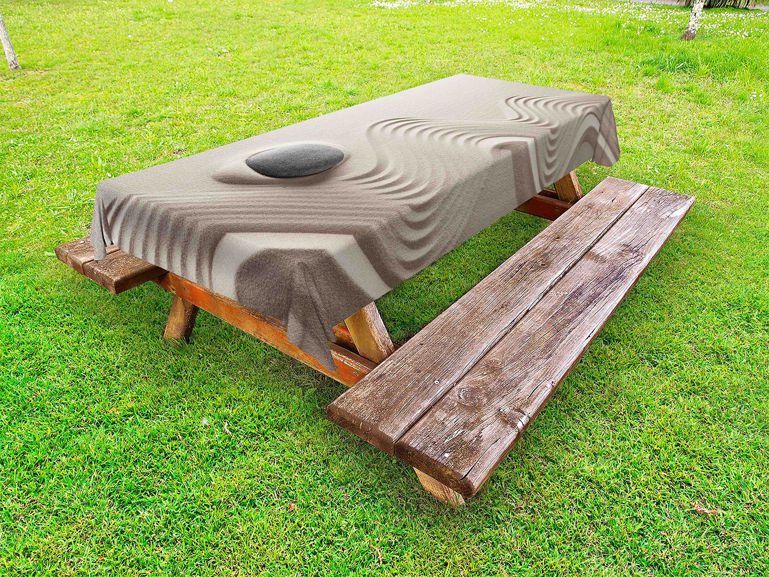 Lunarable Spa Outdoor Tablecloth, The Caribbean White Sand in Shaped Like Waves Near a Grey Zen Stones Work of Art, Decorative Washable Picnic Table Cloth, 58 X 104 inches, Beige and Grey