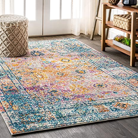 Amazon Com Jonathan Y Bohemian Flair Boho Vintage Faded Cream Navy 5 Ft X 8 Ft Area Rug Vintage Easy Cleaning For Bedroom Kitchen Living Room Non Shedding Furniture Decor