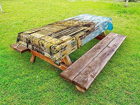 Amazon.com: Ambesonne Landscape Outdoor Tablecloth, Big ...
