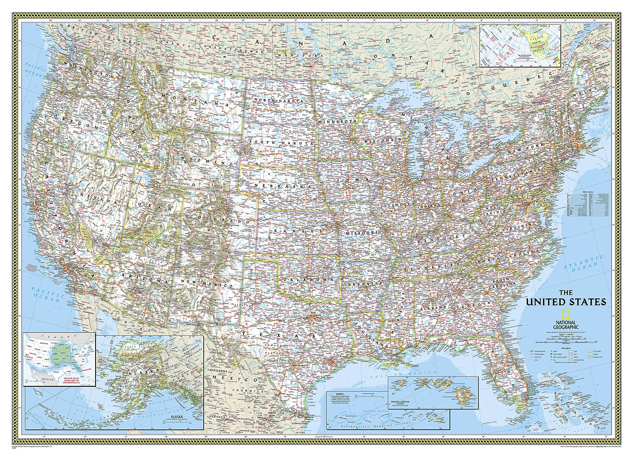 National Geographic: United States Classic Mural Wall Map (106 x 73.75 inches) (National Geographic Reference Map)