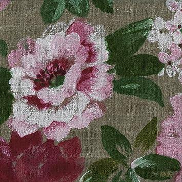 Tissu en lin imprimé - fleurs en pleine floraison - 100% lin ...