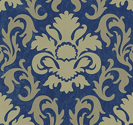 Carat Damask Glitter Wallpaper Gold And Blue Ps 13343 60 Amazoncom