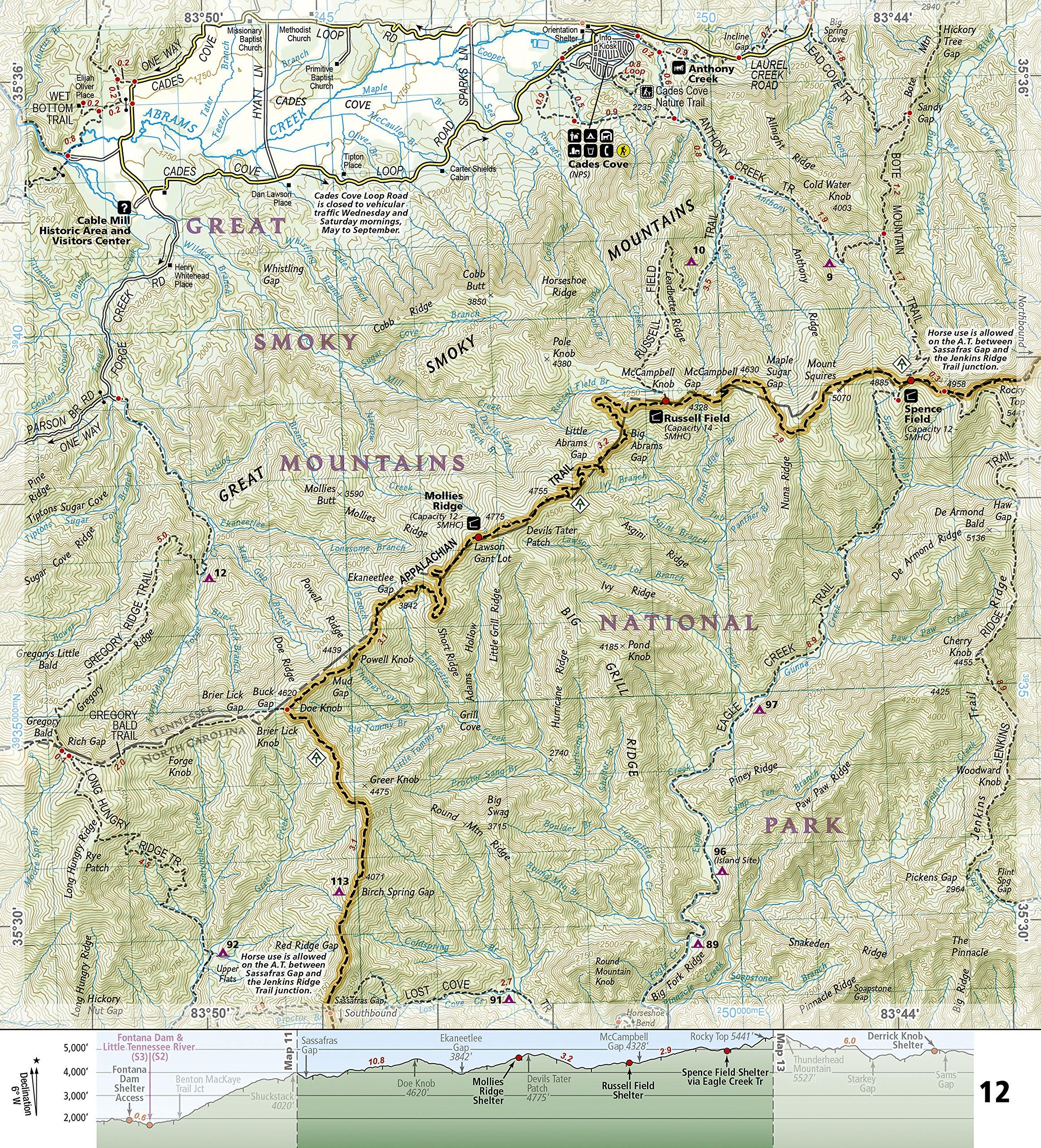 topographic map of appalachian mountains Amazon Com Appalachian Trail Springer Mountain To Davenport Gap