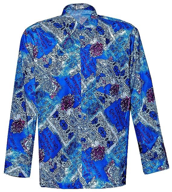 Thai Silk Camisa Casual - Paisley - con Botones - Para Hombre Azul Azul Small