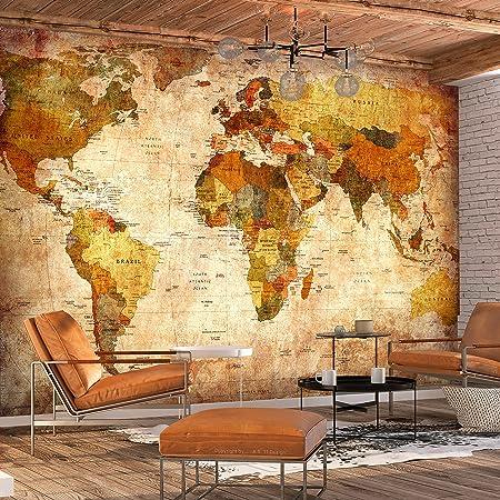 murando - Fotomural Vintage 400x280 cm - Papel tejido-no tejido - Papel pintado - mapa mundi k-A-0315-a-a: Amazon.es: Bricolaje y herramientas