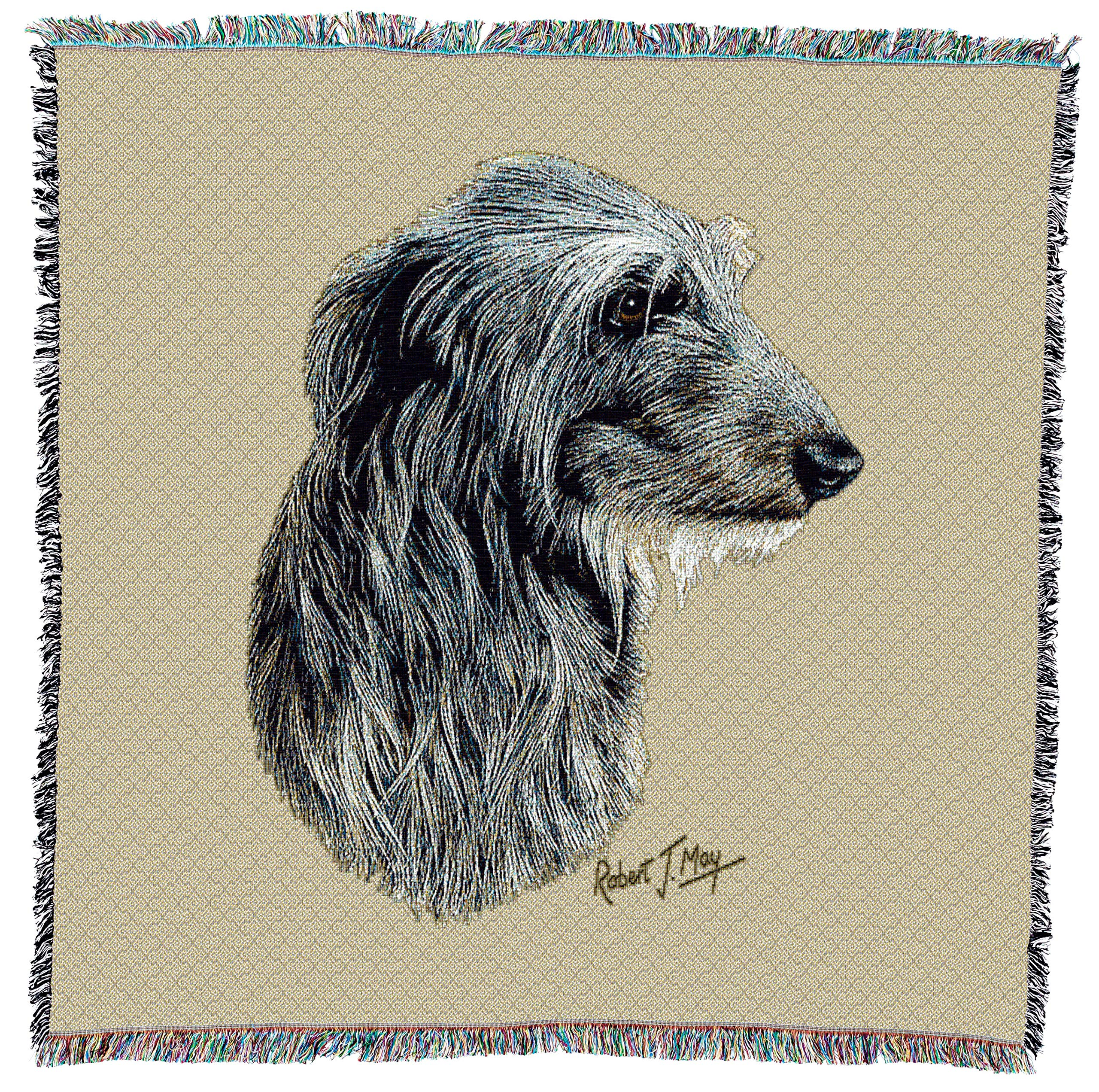 Pure Country Weavers - Scottish Deerhound Woven Throw Blanket with Fringe Cotton. USA Size 54x54