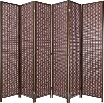 US 6-Panel Flower Bamboo Screen Room Divider Wood Folding Partition Gift 2020
