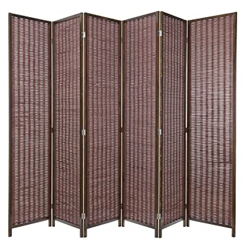 Amazoncom MyGift Decorative Woven Bamboo 6 Panel Room Divider