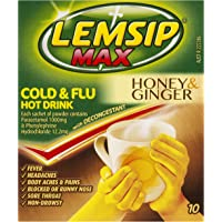 Lemsip Max Cold and Flu Hot Drink with Decongestant Honey and Ginger (Count of 10)
