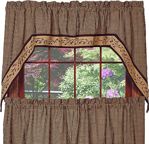 Primitive Country Farmhouse NAVY BLUE TAN STAR Homespun Cafe Swags Curtains