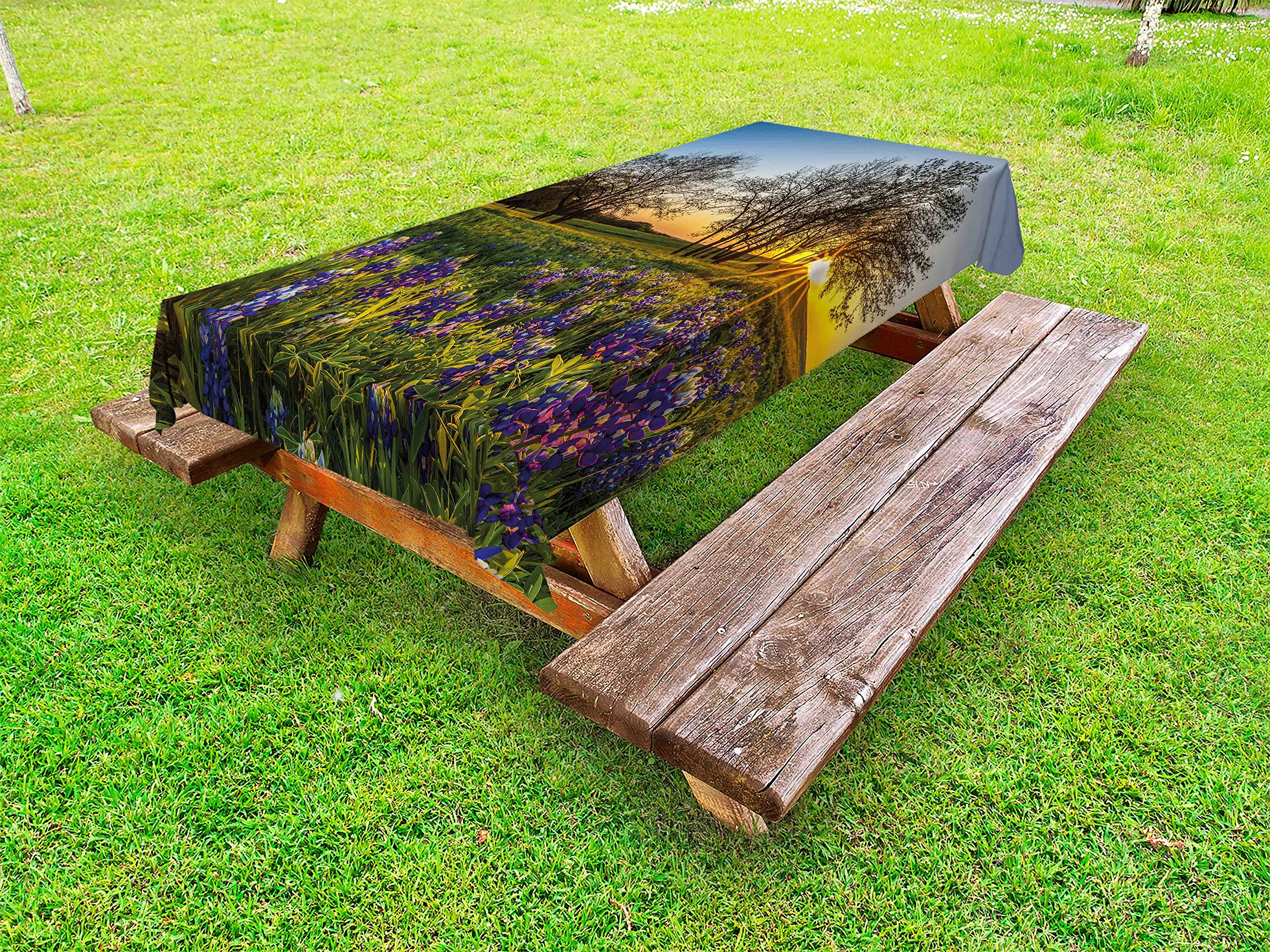 Lunarable Nature Outdoor Tablecloth, Country Scenery with Lavender Meadow at Sunset Spring Beauty Foliage Eco Picture, Decorative Washable Picnic Table Cloth, 58 X 104 inches, Multicolor