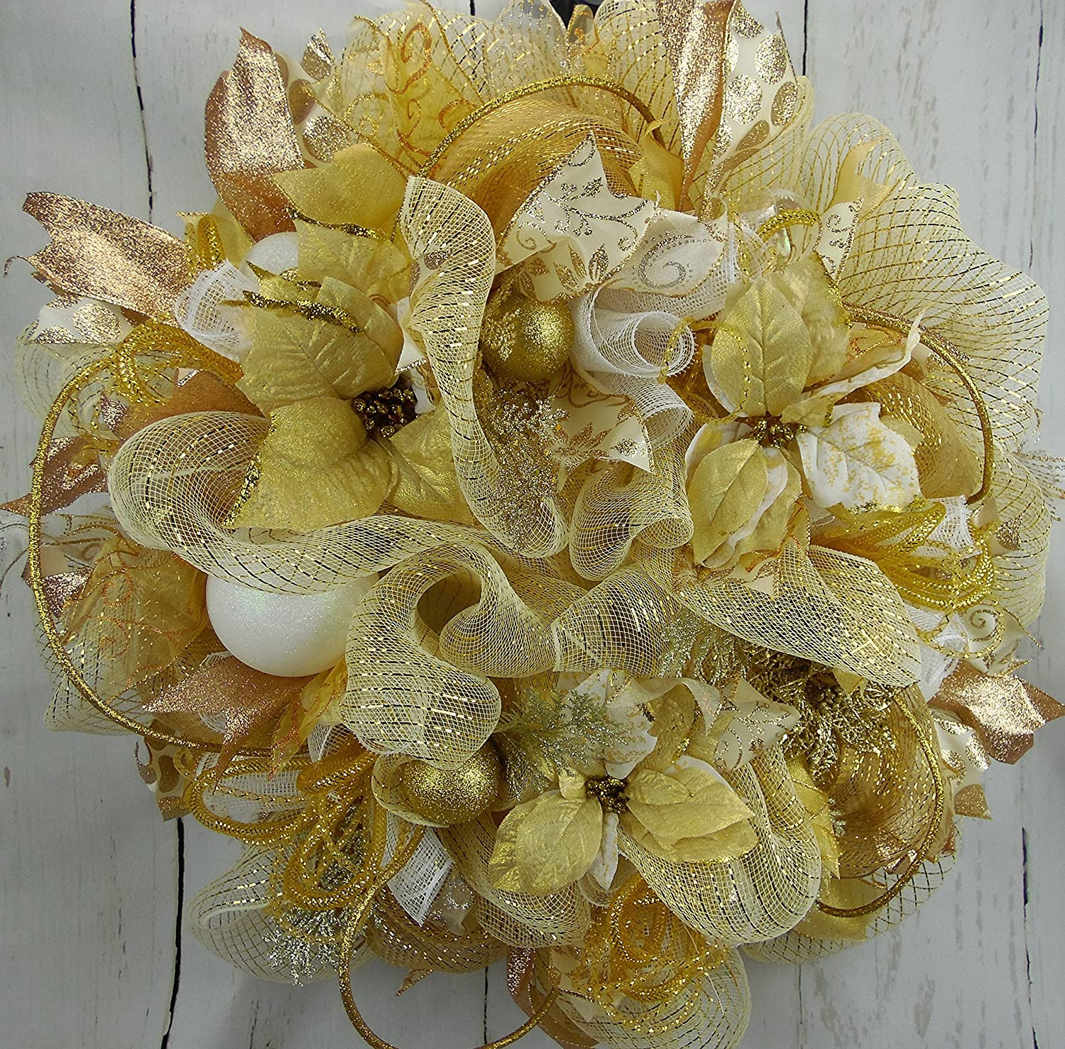Handmade Champagne Gold and White Poinsettia Christmas Wreath