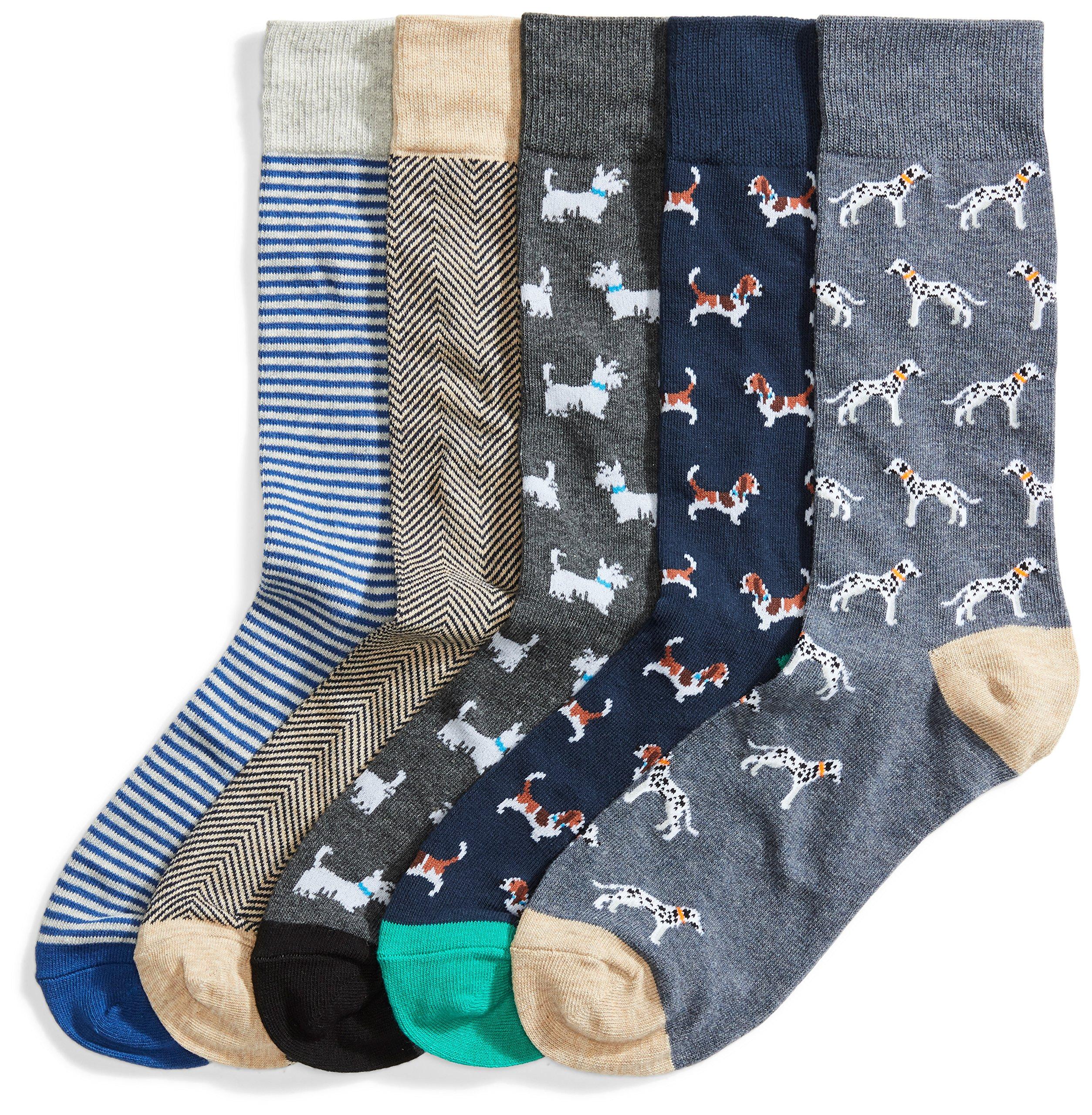 Goodthreads Men's 5-Pack Patterned Socks, Assorted Dogs, Shoe Size: 8-12