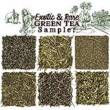 Solstice Exotic and Rare Green Tea Loose Leaf Tea Sampler Assortment (6-Variety), Dragon Well, Gunpowder, Sencha, Yunnan, Fan