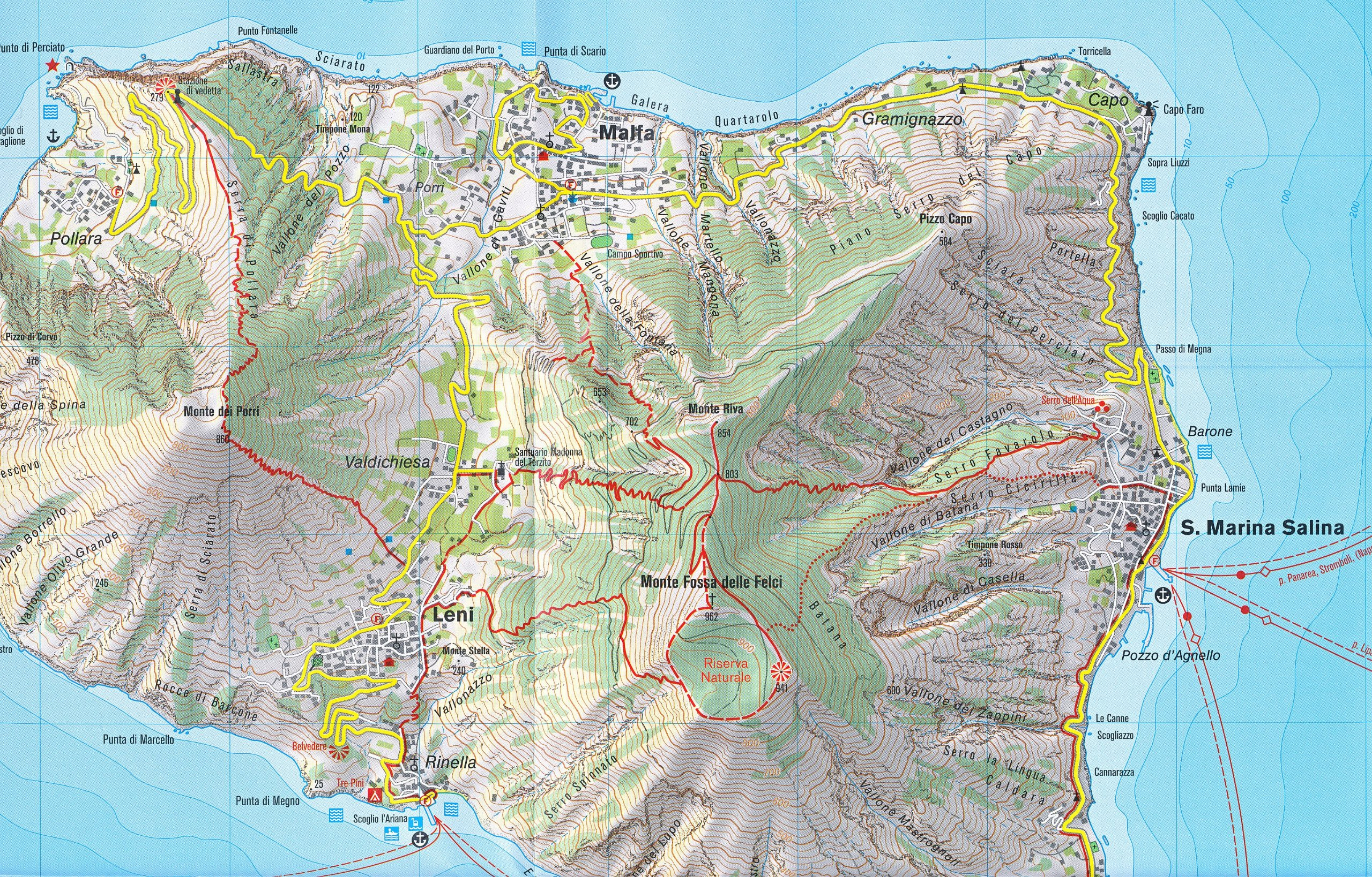 Aeolian Lipari Islands 125 000 Hiking Map GPScompatible